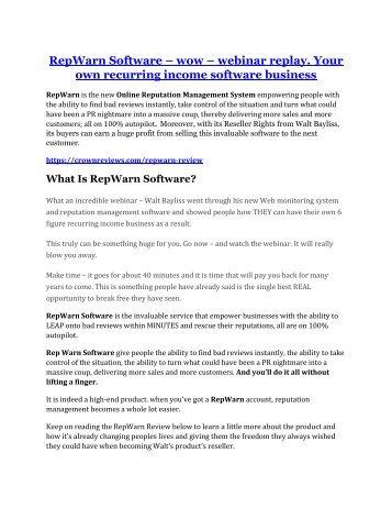 RepWarn review and (Free) $21,400 Bonus & Discount