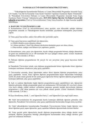 1. 2015-2016 Bahar Yarıyılı Yatay Gecis Kosulları