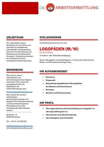 LOGOPÄDEN (m/w) - DieArbeitsvermittlung.com