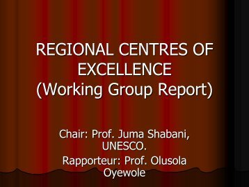REGIONAL CENTRES OF EXCELLENCE (Working Group ... - Events