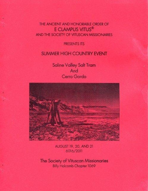 "6016/2011 Summer Vituscan \""Saline Valley Salt Tram And Cerro Gordo\"" History"