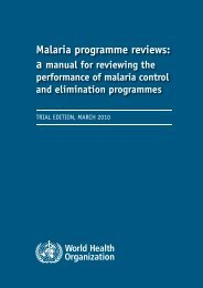 Malaria programme reviews: - World Health Organization