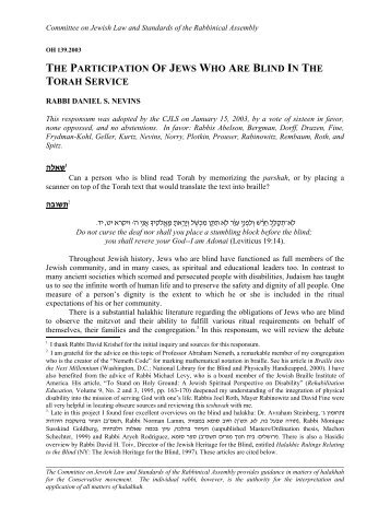 the participation of jews who are blind in the torah service