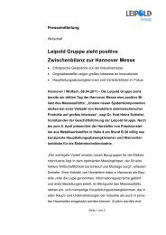 Leipold Gruppe zieht positive Zwischenbilanz zur ... - PresseBox