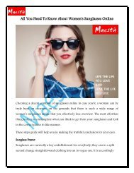 All You Need To Know About Women's Sunglasses Online