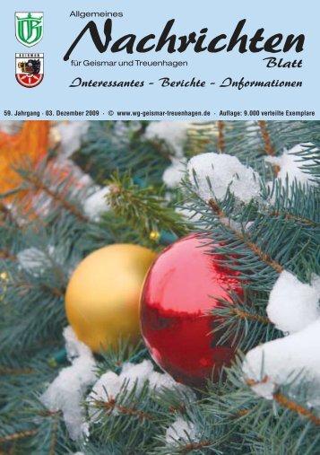 Nachrichtenblatt Dezember 2009 - Werbegemeinschaft Geismar ...