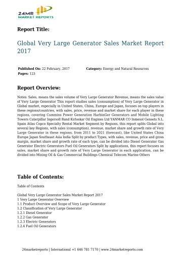 Global Very Large Generator Sales Market Report 2017