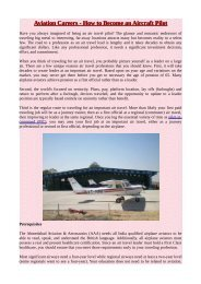 Aviation Careers - How to Become an Aircraft Pilot