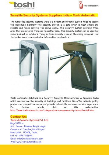 Turnstile Security Systems Suppliers India – Toshi Automatic