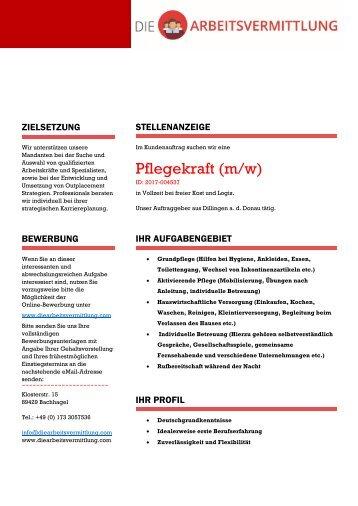 Pflegekraft (m/w) - DieArbeitsvermittlung.com