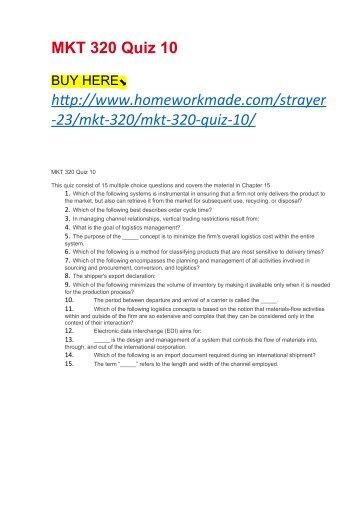 MKT 320 Quiz 10