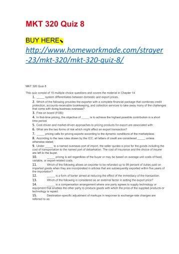 MKT 320 Quiz 8