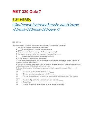 MKT 320 Quiz 7
