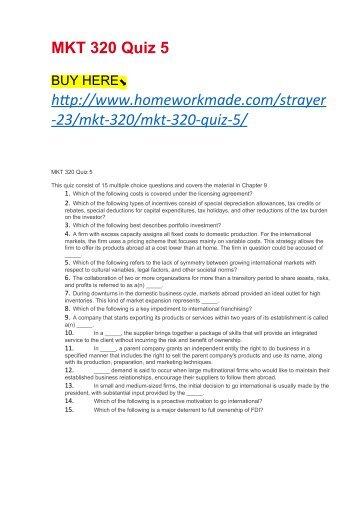 MKT 320 Quiz 5