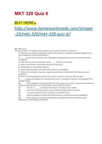 MKT 320 Quiz 6