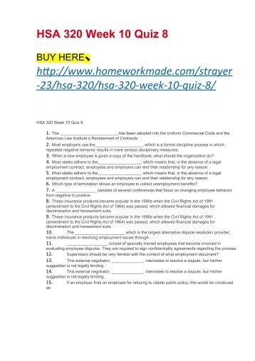 HSA 320 Week 10 Quiz 8