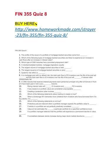FIN 355 Quiz 8