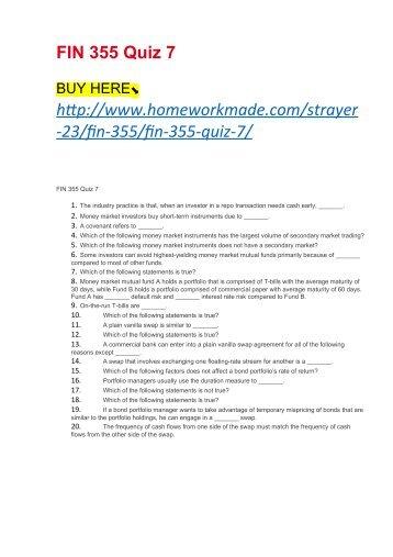 FIN 355 Quiz 7