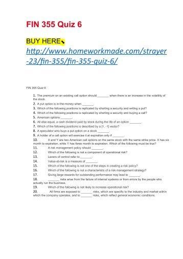 FIN 355 Quiz 6