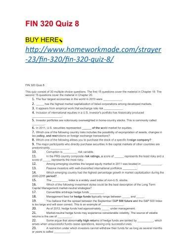 FIN 320 Quiz 8