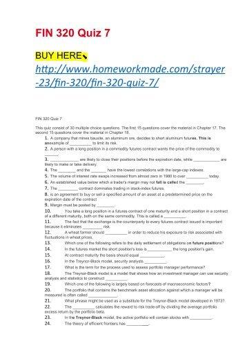 FIN 320 Quiz 7