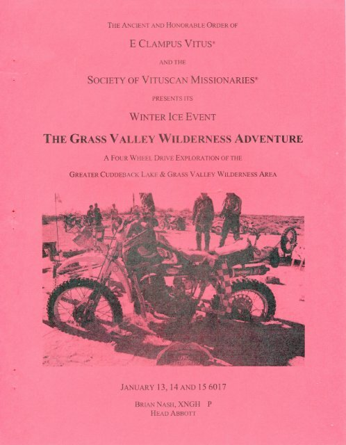 "6017/2012 Winter Vituscan ""The Grass Valley Wilderness Adventure\"" History"