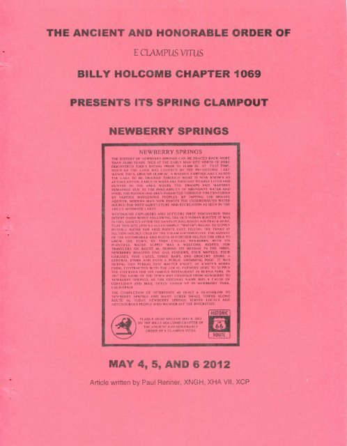 "6017/2012 Spring Clampout ""Newberry Springs\"" History"