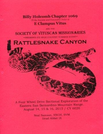 "6020/2015 Summer Vituscan \""Rattlesnake Canyon\"" History"