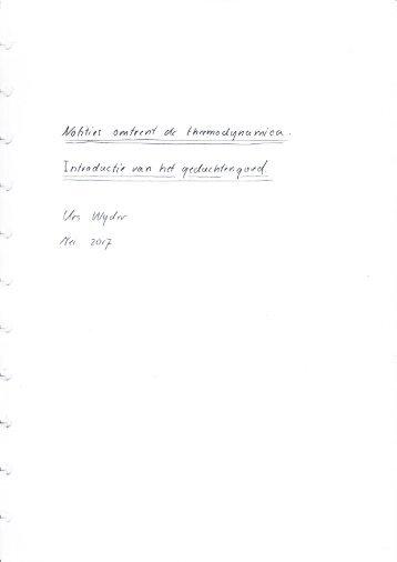 Notities omtrent de thermodynamica-een introductie tot haar gedachtengoed