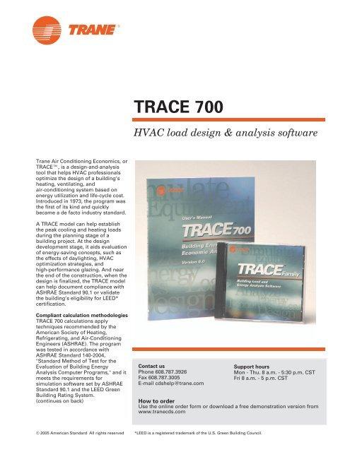 TRACE 700 HVAC load design & analysis software - Trane