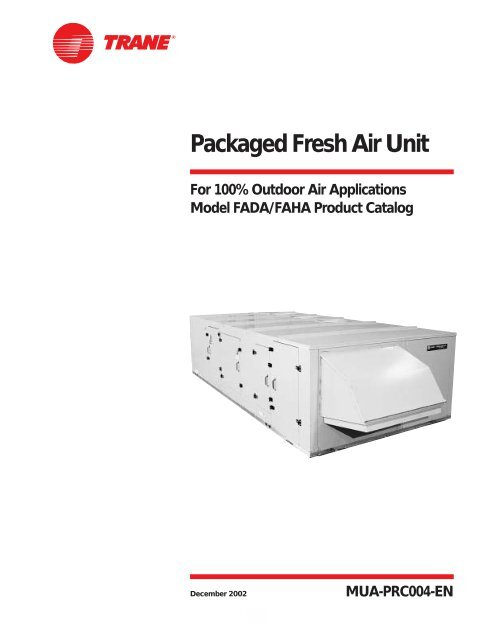 Packaged Fresh Air Unit Trane