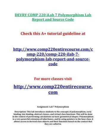 DEVRY COMP 220 iLab 7 Polymorphism Lab
