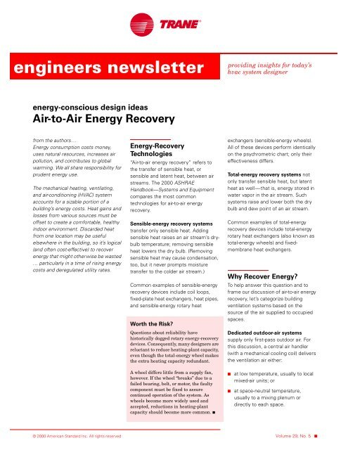 Trane Engineers Newsletter Vol 29 No 5