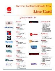 Northern California/Nevada Trane Line Card