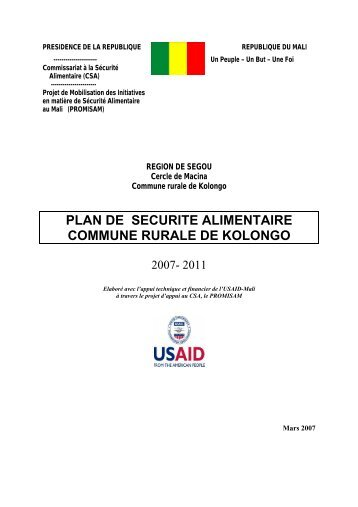 plan de securite alimentaire commune rurale de kolongo