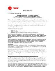 MU News Release - Trane