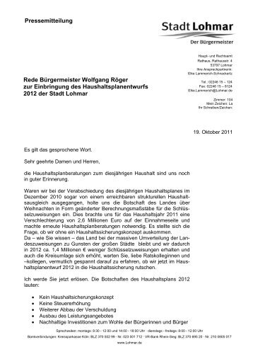 Pressemitteilung Rede Bürgermeister Wolfgang ... - Stadt Lohmar