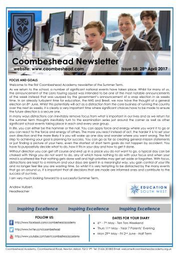 Coombeshead Academy Newsletter - Issue 58