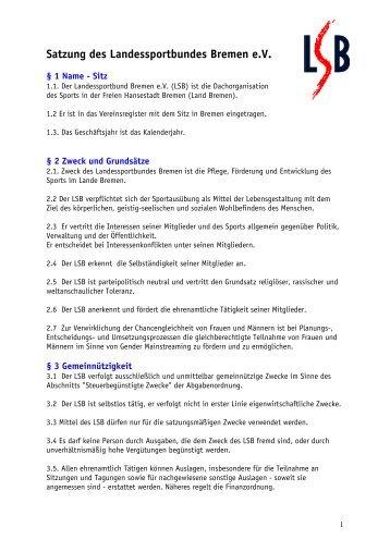 Satzung des Landessportbundes Bremen e.V. - Landessportbund ...