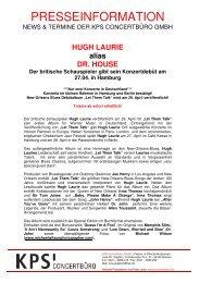 HUGH LAURIE in concert 27. April 2011 Hamburg / Cafe ... - Trenz AG