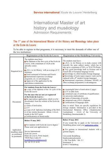 Admission Requirements - Ecole du Louvre
