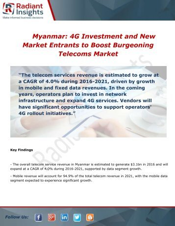 Myanmar: 4G Market Growth, Trends and Analysis Report