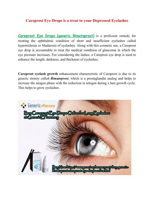Buy Careprost Online Cheap Eye Drops In Usa At Genericepharmacy
