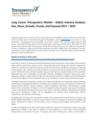Lung Cancer Therapeutics Market Size, Share, Opportunity, Analysis and Forecast 2017 - 2025