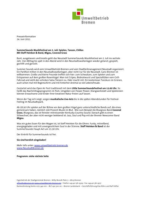 Presseinformation 24. Juni 2011 SummerSounds ... - Trenz AG