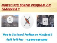How to Fix Sound Problem on MacBookHow to Fix Sound Problem on MacBook  +44-800-046-5289