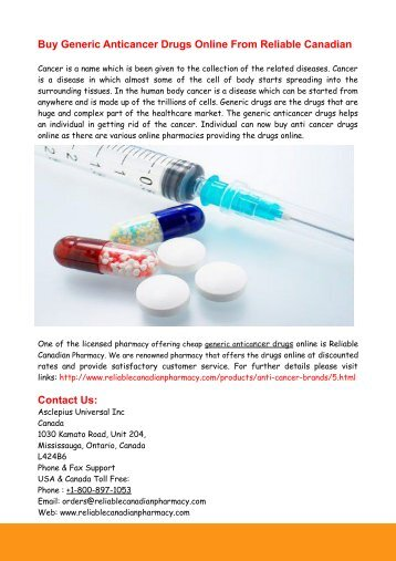 Buy Generic Anticancer Drugs Online From Reliable Canadian