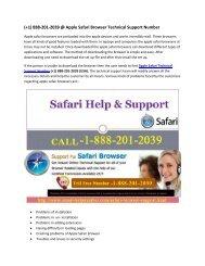 Apple Safari Browser Technical Support (+1) 888-201-2039