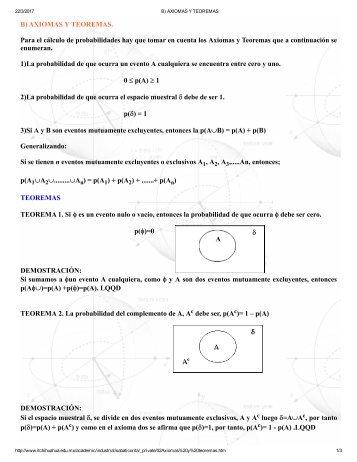 B) AXIOMAS Y TEOREMAS