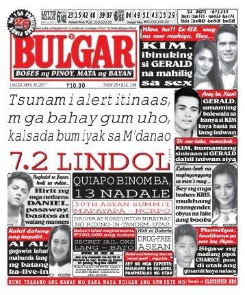 April 30, 2017 BULGAR: BOSES NG PINOY, MATA NG BAYAN